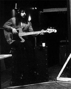 "John Entwistle Ca. 1973, Ramport Studios, recording Quadrophenia, with Orange-painted ""Fenderbird,"" and Sunn amp/cab (background)."