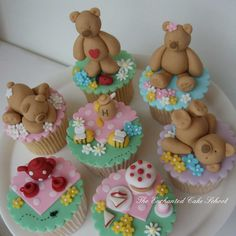 Teddy bear picnic designed cupcakes in pastel pink, purple, green, blue. Fondant Toppers, Fondant Cupcakes, Fun Cupcakes, Cupcake Cakes, Cup Cakes, Cupcake Toppers, Decorated Cupcakes, Pretty Cupcakes, Mini Cakes