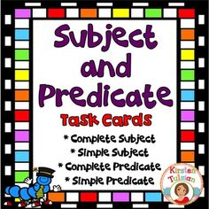 This Subject and Predicate Task Card product (sometimes referred to as Parts of a Sentence) is Common Core aligned for 2nd, 3rd, and 4th grade and includes 36 task cards, 4 instructional pages (anchor charts) with explanations and examples of simple subjects, complete subjects, simple predicates, and complete predicates. 24 task cards are multiple choice and 12 task cards ask the student to complete an answer to show they understand subject and predicate.