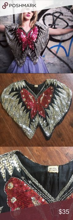 Vintage Festival '70s Sequin Butterfly Crop Top S This true vintage butterfly crop top is magical! It's 100% black silk adorned with silver and red sequins. Made in India. Signs of wear include loose threads and a small tear along the neckline, as well as a few in the lining. Very small soft shoulder pads. This top pulls over the head and has no armholes, so can accommodate pretty much any size. Vintage Tops