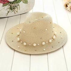 Summer British pearl beading flat brimmed straw hat Shading sun hat Lady fashion beach hat Jazz hat Material: Straw Department Name: Adult Gender: Women Style: Casual Pattern Type: Solid Item Type: Sun Hats Women's Summer Fashion, Diy Fashion, Womens Fashion, Ladies Fashion, Fashion Trends, Fashion Ideas, Fashion 2018, Cheap Fashion, Fashion Fall