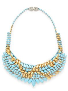 Love that gold streak! Gilded Pleasure Turquoise & Gold Floral Bib Necklace by Tom Binns on sale now on Gilt. Bold Jewelry, Jewelry Clasps, Statement Jewelry, Beaded Jewelry, Jewelry Accessories, Jewelry Design, Jewellery, Fashion Necklace, Fashion Jewelry