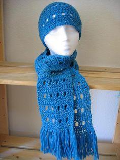 OPEN BLOCK SCARF & HAT SET free crochet pattern