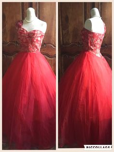 1950s red Party dress 50s vintage Wedding by VintageDressUpStore