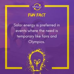 Solar energy is preferred in events where the need is temporary like fairs and Olympics. Renewable Energy, Solar Energy, Solar Solutions, Solar Panels, Olympics, Fun Facts, Events, Solar Power, Sun Panels