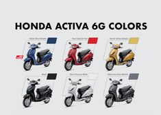 Honda Activa 6G Colors: Blue, Red, Yellow, Black, White, Grey Yellow Black, Black And White, Blue, New Honda, Honda Motorcycles, Metallic Colors, All The Colors, Gray Color, Grey