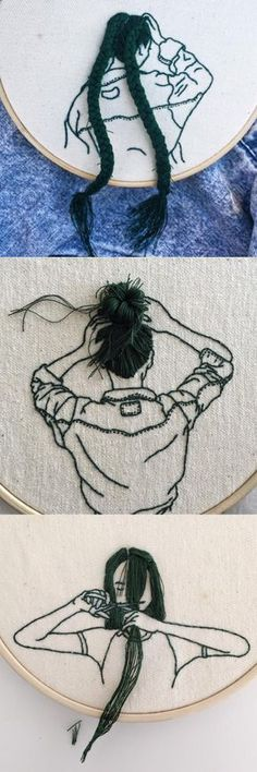 Hand-Sewn Hairstyles That Cascade From Embroidered Hoops by Sheena Liam – DIY & Craft