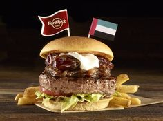 Food   Illustration   Description   Date Burger – this United Arab Emirates Legendary features a beef patty topped with rich date chutney, diced fresh dates and softened cream cheese #WorldBurgerTour    – Read More –