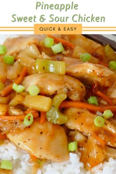 Skip takeout and try this easy meal idea at home! Ready in less than 30 minutes and SO delicious! This recipe combines chicken breast, carrots, celery and onion with a delicious homemade sweet and sour sauce with ingredients easily found in your kitchen! Serve over rice! Pork Recipes For Dinner, Italian Dinner Recipes, Delicious Dinner Recipes, Veggie Recipes, Lunch Recipes, Chicken Recipes, Healthy Recipes, Family Recipes, Yummy Recipes