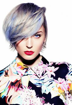 Platinum blonde with blue highlights, on a longer pixie cut! Wow! Maybe when I'm out of college if I don't have a job.
