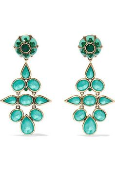 ETRO Gold-tone, crystal and enamel clip earrings