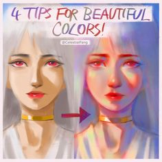 Tips for beautiful colors by . Don't forget to folYou can find Art reference and more on our website.Tips for beautiful colors by . Digital Painting Tutorials, Digital Art Tutorial, Art Tutorials, Drawing Tutorials, Color Draw, To Color, Drawing Techniques, Drawing Tips, Sakimichan Tutorial