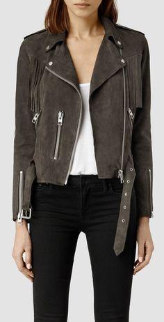 The Suede Jacket   All Saints Tassel Leather Biker Jacket ($595)