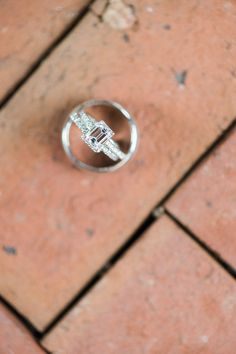 Elegant engagement ring idea - emerald-cut engagement ring with pavé band {MyLife Photography}