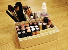 Deconstruct and decoupage old boxes. | 14 Incredibly Simple Ways To Organize Your Makeup