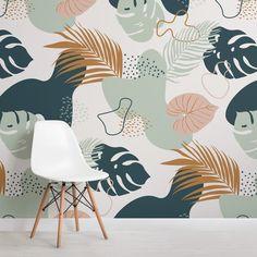 Palm Leaf Wallpaper, Tropical Wallpaper, Unique Wallpaper, Minimalist Wallpaper, Gold Teal Wallpaper, Bedroom Murals, Wall Murals, Wallpaper Murals, Bedroom Wallpaper
