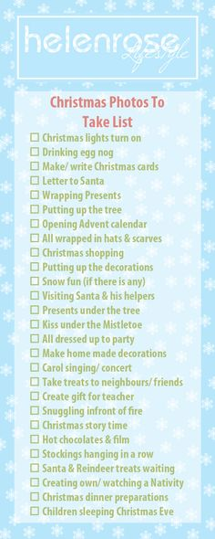 Christmas Count Down December 1st – Free Photo Checklist printable Helen Rose Lifestyle Photography