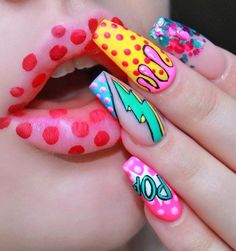 From mystical mermaids to gold-dipped glam, these are the acrylic nail art looks. - From mystical mermaids to gold-dipped glam, these are the acrylic nail art looks you'll want to s - Ongles Pop Art, Pop Art Nails, Neon Nail Art, Neon Nails, Acrylic Nail Art, Glitter Nail Art, Nail Art Diy, Plain Nails, Swarovski Nails
