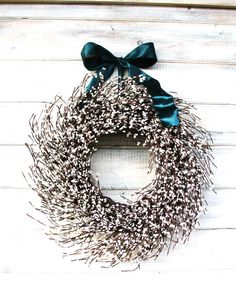 Welcome any Season with this Antique White Pip Berry Wreath!!!!   UNIQUE Scented Wreath! This Rustic Berry Wreath hangs from a Satin Ribbon, packed full of Antique White Pip berries and Scented with my Scented Oils.....Change the Ribbon and use this Wreath all Year Long! ***This wreath has EXTRA BERRIES . ...I use 1/3 more Pip Berries than my Original WILDRIDGE WREATHS. WildRidge Wreaths are CUSTOM MADE choose your Scent and Ribbon Color. (18-20 diameter-- PICTURED)  ****** LEAVE NOTE A...