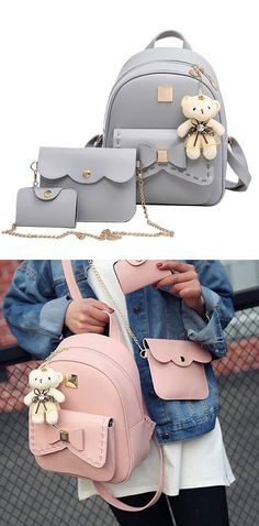 Cute gray pink splicing bowknot college bag bear pendant pu bow school backpacks for big sale! Lace Backpack, Retro Backpack, Backpack For Teens, Backpack Bags, Messenger Bags, Stylish Backpacks, Cute Backpacks, Girl Backpacks, School Backpacks