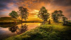 Anglia, Hrabstwo Cambridgeshire, Miasto Peterborough, Posiadłość Lyveden New Bield, Staw, Wschód Słońca, Drzewa, Ogrodzenie