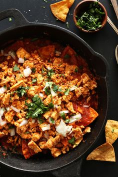 Tofu Chilaquiles with DIY Baked Tortilla Chips! 30 minutes, SO flavorful and seriously healthy!! #vegan #glutenfree