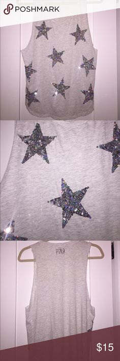 VS Pink Sequin Star Tank PINK silver sequin star muscle tank. Fits baggier with loose armholes, hits right about the waist. Super soft fabric. Like new and sequins are perfect ⭐️💫 PINK Tops Tank Tops