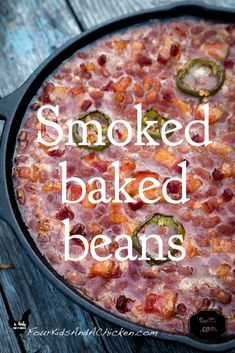 Smoked Baked Beans Recipe (Video and Post) – Four Kids and a Chicken smoked baked beans smoker recipes,masterbuilt smoker recipes,electric smoker recipes,bradley smoker recipes,best smoker recipes Smoked Baked Beans Recipe, Baked Bean Recipes, Smoked Meat Recipes, Rib Recipes, Venison Recipes, Game Recipes, Jamaican Recipes, Sausage Recipes, Pizza Recipes
