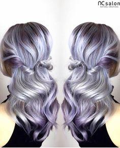 Silver purple balayage