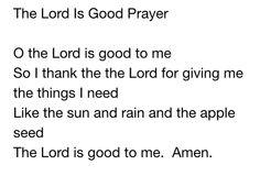 Lord is Good Prayer