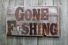 Gone Fishing Dad Gift Home Decor fishing decor rustic cabin decor >>> More info could be found at the image url. (This is an affiliate link and I receive a commission for the sales) Metal Wall Letters, Letter Wall Art, Large Letters, Rustic Cabin Decor, Western Decor, Lodge Decor, Country Decor, Gone Fishing Sign, Fishing Stuff