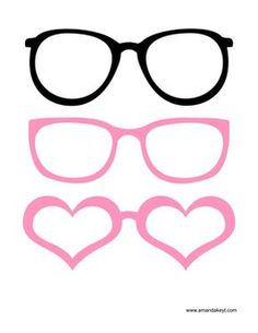 Glasses from Wedding Light Pink Black Printable Photo Booth Prop Set