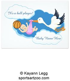 Basketball Baby Girl With Stork Card by #SportsArtZoo #basketball #baby