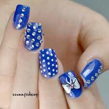 Blue Nail Rhinestone