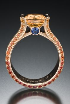 Krikawa Jewelry Designs, Orange  & Blue Sapphire custom design.