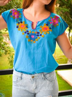 Beaded Embroidery, Hand Embroidery, Mexican Style, Slimming World, Skinny, Boho Chic, Sewing, Color Azul, My Style