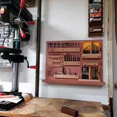 Top 80 Best Tool Storage Ideas - Organized Garage Designs Storage Shed Organization, Garage Tool Storage, Workshop Storage, Garage Tools, Garage Workshop, Diy Storage, Storage Ideas, Garage Shop, Wooden Crate Shelves