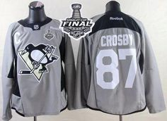 Penguins #87 Sidney Crosby Black Practice 2017 Stanley Cup Final Patch Stitched NHL Jersey