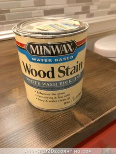 My Newly Refinished Wood Bathroom Countertop (And A Peek At The New Cabinet Color) - Addicted 2 Decorating® Staining Pine Wood, Stain On Pine, Oak Stain, Weathered Furniture, Pine Furniture, Furniture Design, Countertop Materials, Wood Countertops, Water Based Wood Stain