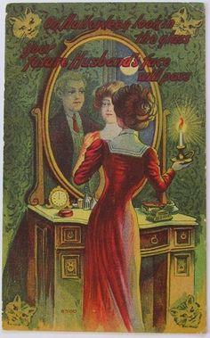 Vintage Halloween Postcard Girl Sees Future Husband's Face in Mirror Cat Corners | eBay