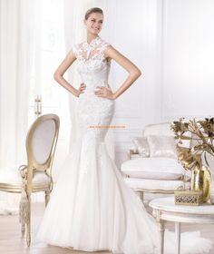 Escote alto vestido de novia Leroig de encaje y tul