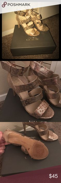 "Vince Camuto Gold VC Rittel heels ""Natural metallic glamazon"" sooooo cute! Surprisingly comfortable. Worn one time, perfect condition Vince Camuto Shoes Heels"