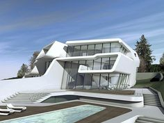 Zaha Hadid is mijn favoriete architect. Veel van haar gebouwen is niet te realiseren maar toch zou ik graag wat van haar type gebouwen inbrengen. Wellicht iets golvigs.