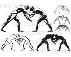WRESTLING VECTOR SILHOUETTES, clipart eps, ai, cdr, png, jpg, sport icon, ancient combat sport, wrestlers icon, greco-roman, freestyle fight by ottoflickvector on Etsy