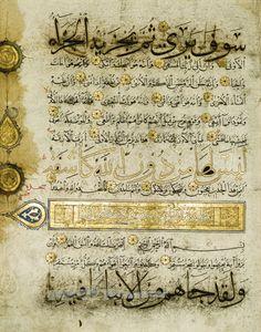 A LARGE ILLUMINATED QUR'AN LEAF, YEMEN OR PERSIA, MAMLUK OR ILKHANID, 13TH/14TH CENTURY