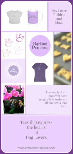 Dog Lover Purple Tees and mugs.  Gifts for dog moms.