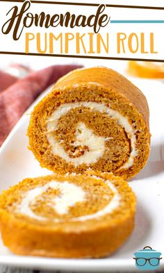 This Homemade Pumpkin Roll recipe is made with a sweet cream cheese filling rolled up into a deliciously moist homemade pumpkin cake.