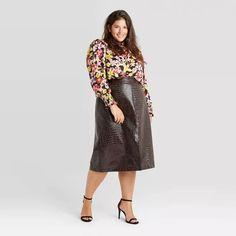 Women's Alligator Pattern Faux Leather Pencil Midi Skirt - Who What Wear™ Wine Plus Size Fall Outfit, Plus Size Fall Fashion, Curvy Fashion, Autumn Fashion, Plus Fashion, Slip Skirts, A Line Skirts, Plus Size Coats, Plus Size Designers