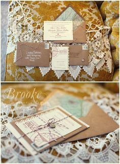 rustic-chic, vintage, lacey, modern, wedding invitations with map liners, baker's twine, and compass charm