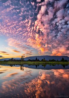 Amazing clouds during a sunset in Pitt Meadows, British Columbia. Clouds have to be just right to reflect sunset colors! Beautiful Sky, Beautiful Landscapes, Beautiful World, Beautiful Images, Beautiful Scenery, Image Nature, All Nature, Amazing Nature, Nature Photos